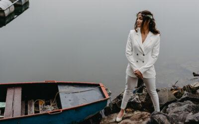 Elegantní kalhotový kostým Sybil Leek na svatbu, nebo do práce